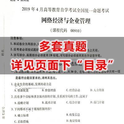 00910网络经济与企业管理历年真题