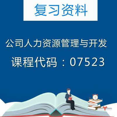 07523人力资源管理与开发复习资料