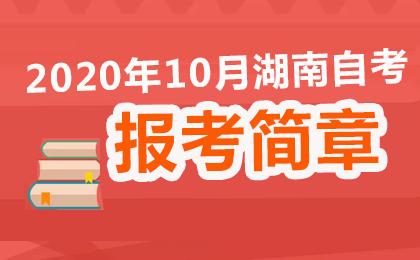 湖南省2020年10月高等教育自学考试报考简章